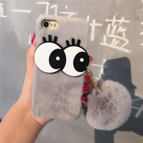 For-iPhone-7-Luxury-Big-Eyes-Wram-Rabbit-Fur-Ball-Tassel-Case-Metal-Ring-Plush-Phone