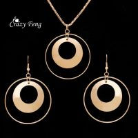 -Metal-Dangle-Earrings-Pendant-necklace-Set-Gold-Plated(4)